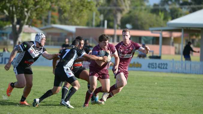 POWER ON: Jake Thompson pushes through for Isis in a Rugby League game at Salters Oval.