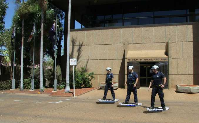 GREAT SCOTT:Mount Isa Hoverboard Unit heading to a crash near clock tower. Photo Contributed
