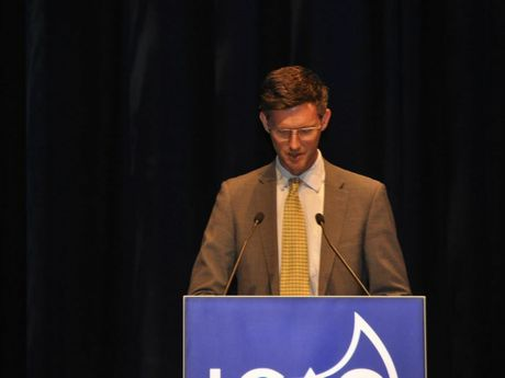 Minister for Main Roads Mark Bailey talks at the Local Government Association of Queensland's annual conference.