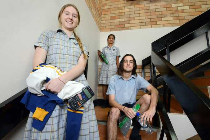 Trinity High Catholic College year 12 students, from left, Eboni Flaherty, Monika Singh, and Max Gray have finished their maths exam. Photo Cathy Adams / The Northern Star