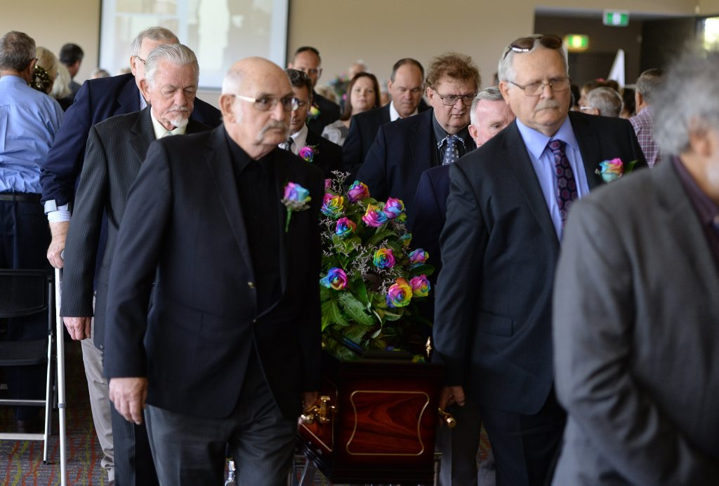 Don Livingstone funeral held at North Ipswich on Wednesday. Don's card playing mates were pallbearers. Photo: Rob Williams / The Queensland Times