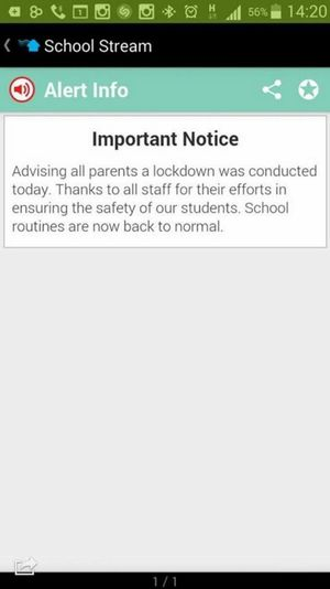 A message sent out to parents after a lockdown at Banora Point Public School on Wednesday afternoon.