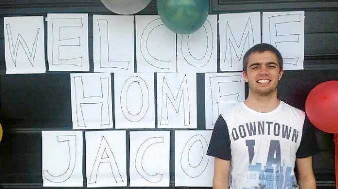 GREAT MOMENT: Hervey Bay's Jacob Nuske is finally home after three months spent recovering from being hit by two cars on the Pialba-Burrum Heads Rd.