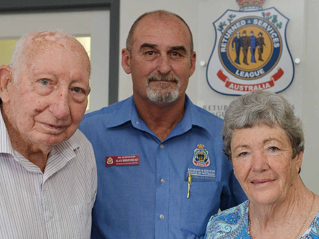 HELPING HAND: Second World War veteran Jim Shaw (left) and war widow Glenda Lowe have been ably assisted by pension and welfare officer Alan Birkenhead.