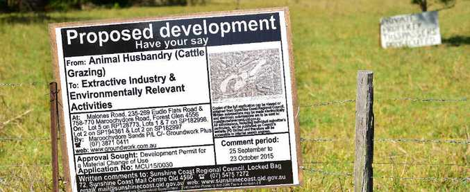 CONFLICT: The proposed sand mine along Maroochydore Rd met opposition from locals.