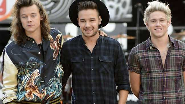One Direction members Harry Styles, Liam Payne and Niall Horan.