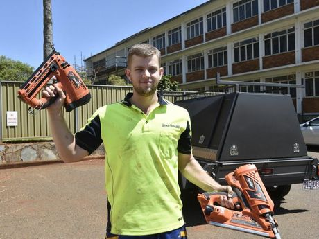 THANKS HEAPS: Northbuild site foreman Karl Bambosek, 23, has been heartened by the generosity of strangers after $8000 worth of his tools were stolen from a job site earlier this year.