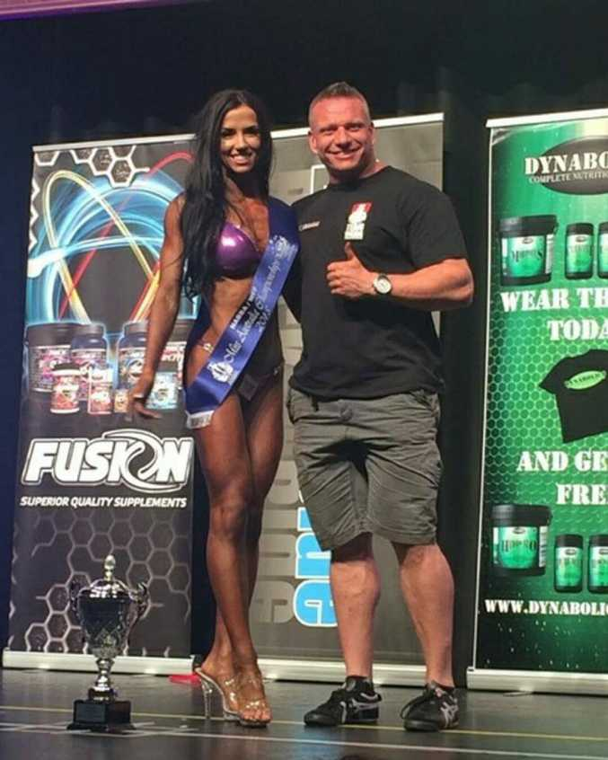 Teanna Born at the NABBA WFFS National Championships in Melbourne with her coach Kristian Porthill