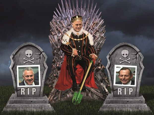STRANGE POLITICS: The new emperor Malcolm Turnbull is only too happy to see the backs of Tony Abbott and Smokin' Joe Hockey. Federal politics, Prime Minister, Liberal Party, Canberra, opinion, funny, humour, Game of Thrones. Photo Digitally altered