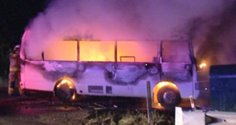 Fire rips through a motorhome on the New England Hwy in Toowoomba.