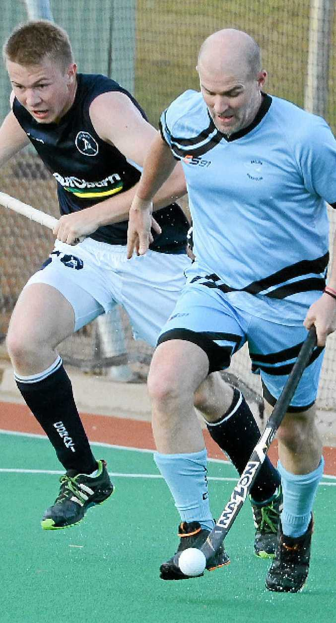 Grant Smith in action for Ballina in a Far North Coast A-grade men's hockey game. Smith will represent Australian Over-45s in the Masters World Cup.