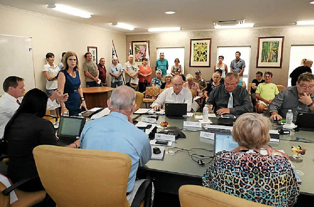 TAKE OFF: Whitsunday Regional Council mayor Jennifer Whitney opens the special meeting to discuss the Whitsunday Coast Airport in Proserpine today. Photo Matthew Newton / The Guardian