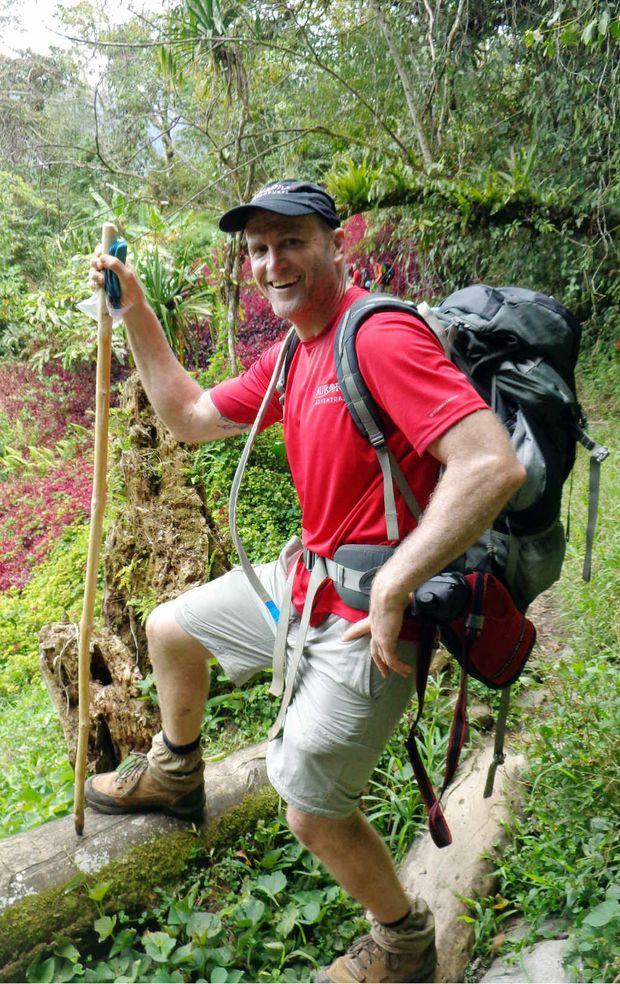 ESSENTIALS ONLY: Bell made the trek with a sleeping bag, water and light mattress.