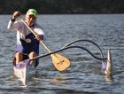 PADDLES UP: Rocky Outrigger Canoe Club president Andrew Crozier training on the Fitzroy River.