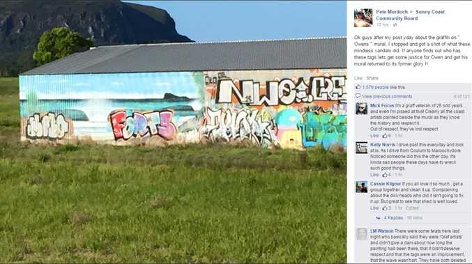 A Facebook post on the Sunny Coast Community Board by Pete Murdoch showing the vandalism.