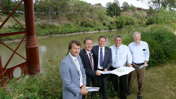 WORKING TOGETHER: Healthy Waterways Executive Science Advisory Council member Dr Adrian Volders, MP Jim Madden, Cr David Morrison, Somerset Mayor Graeme Lehmann and Cr Victor Attwood launch of the 2015 Healthy Waterways report card in Ipswich.