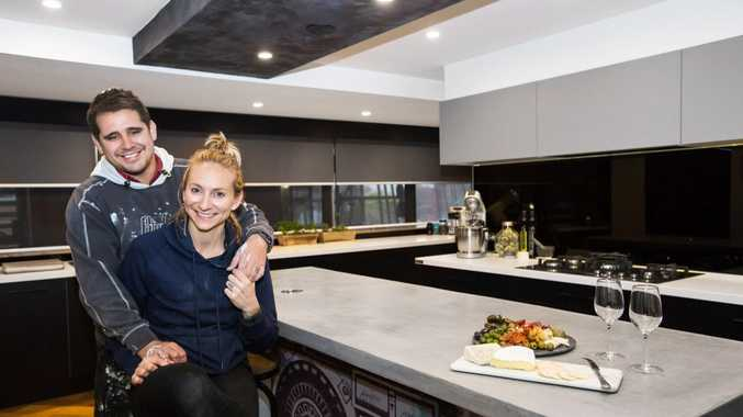 The Block's Kingi and Caro pictured in their winning kitchen.