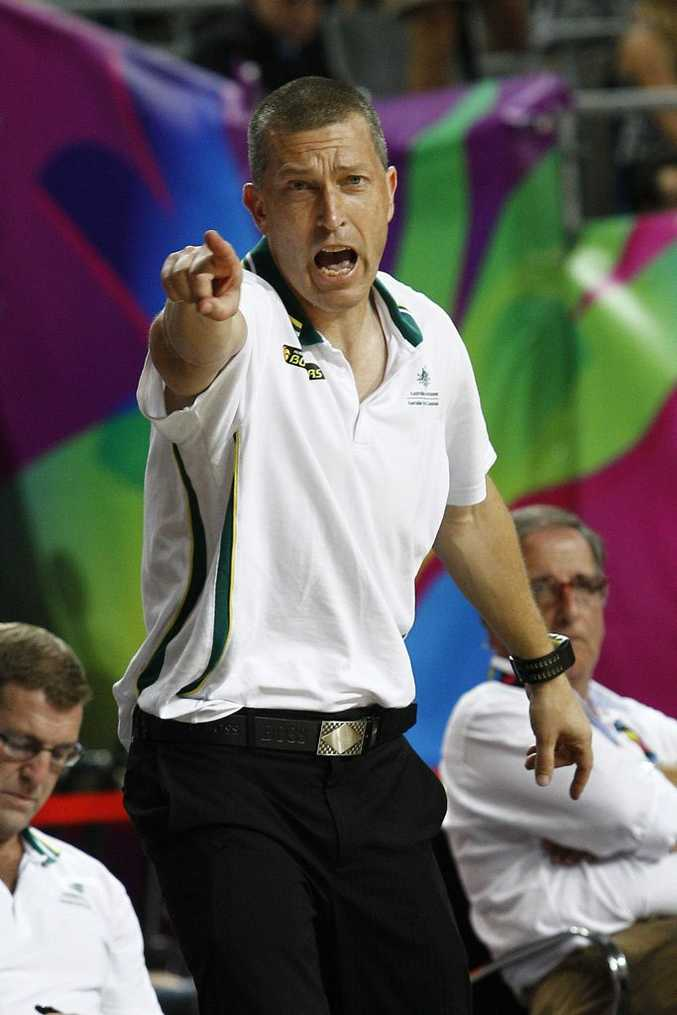 Andrej Lemanis gestures to his players while coaching Australia during the 2014 FIBA World basketball championships match against Turkey at the Palau Sant Jordi arena in Barcelona. Photo: AFP PHOTO/ QUIQUE GARCIA