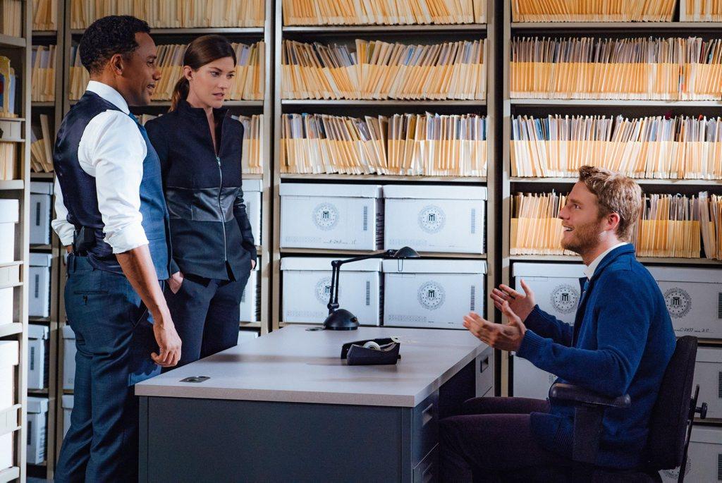 Hill Harper, Jennifer Carpenter and Jake McDorman in a scene from the TV series Limitless.