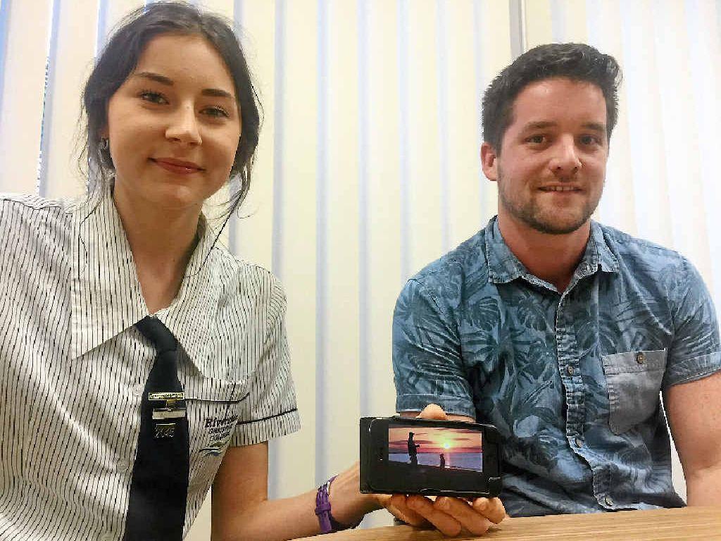 MOVING VIDEO: Riverside Christian College student Luci Allanson with her teacher Matt White.