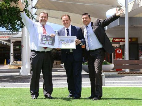 GET READY: Ipswich councillors Paul Tully, Paul Pisasale and Andrew Antoniolli announce 'Retail Stage One' of the Ipswich Mall redevelopment.