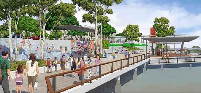 GOING AHEAD: An artist's impression for Rockhampton Regional Council's riverbank development, which was supposed to begin phase one of construction on Tuesday.