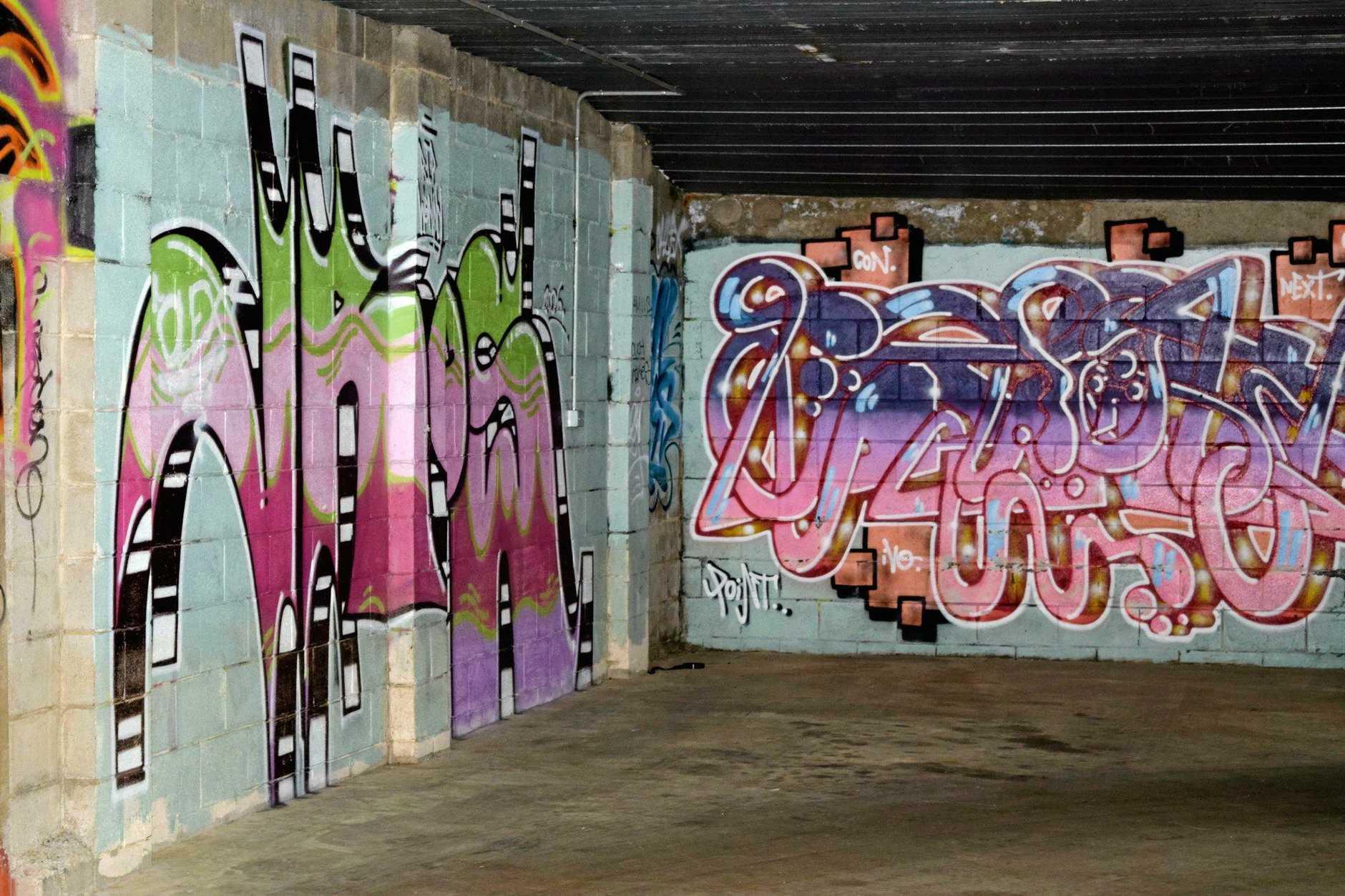 Graffiti in Murwillumbah, with Geraldine O'Flynn.