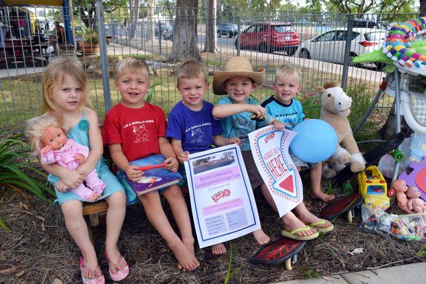 BORILLA'S BEST: Emma Cislowski, Lachlan McDonald, Alexander Bridgeman, Darcy Rackley and James Bridgeman are happy to help with the Borilla Community Kindergarten garage sale tomorrow.