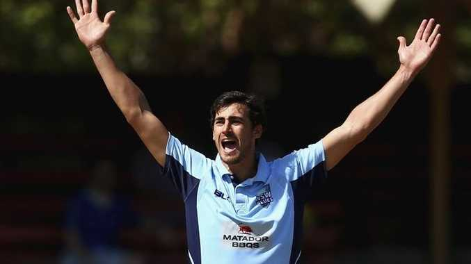 Too good ... Mitchell Starc appeals for the wicket of Callum Ferguson during the Matador Cup final at North Sydney Oval. Photo: Ryan Pierse/Getty Images.