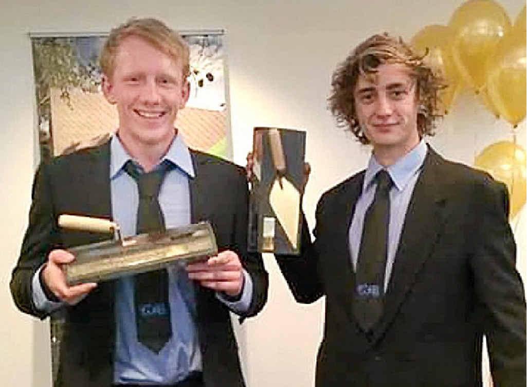 JOB DONE: Bricklayers Michael Boner, left, and Jacob Wade.
