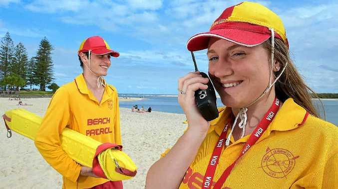 WATER SAFE: Henry Webb and Kate Bennett keep a watch over Bulcock Beach, Caloundra.