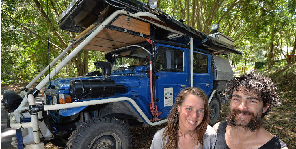 "RESOURCEFUL: Sam and Clara Rogers are driving around Australia in a converted Toyota LandCruiser called ""Bluey"", which runs almost entirely on used vegie oil."