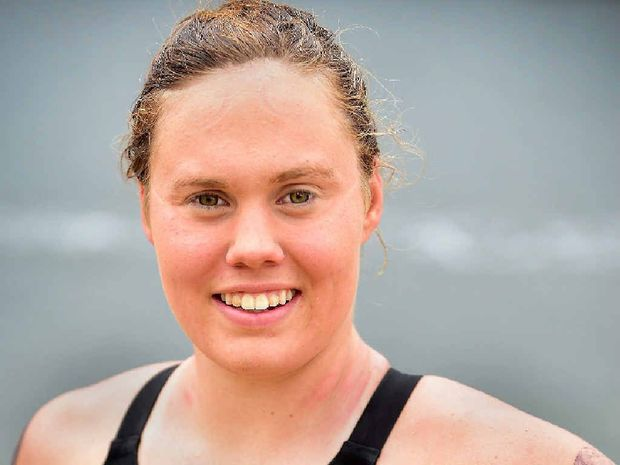 ON FIRE: Queensland Open Water Swimming Champion Chelsea Gubecka won the 10km event at Lake Kawana yesterday.