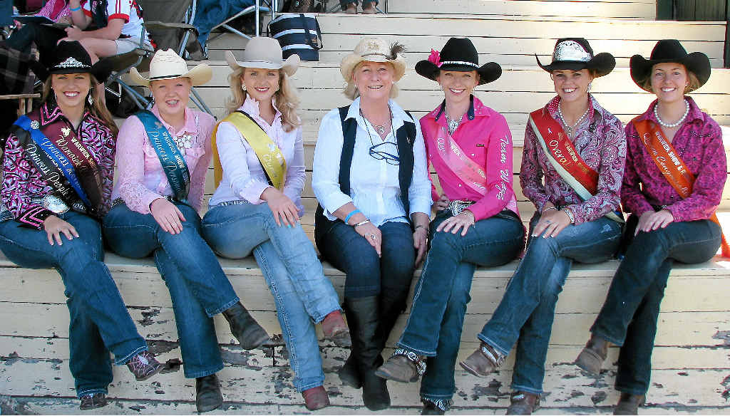 Princess Tracey Madsen, Miss Personality Shania Pitt, Queen runner-up Sophie Amos, Merilyn Roberton, Queen Appearance Tamara Evans, Queen Fundraiser and Horsemanship Tori Rafton and Queen Congeniality Taylah Gibson.