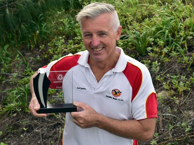Warick Redwood pictured when he was named Volunteer of the Year at the Surf Life Saving branch awards in July.