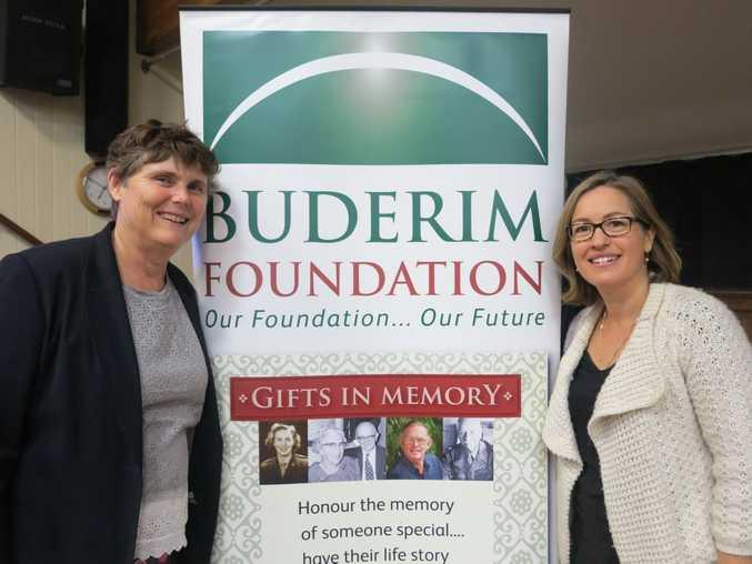 HANDOVER: Leanne Evans with Lisa Edwards. Photo Sophie Meixner / Buderim Chronicle