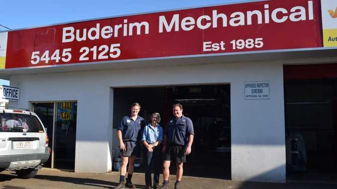 FAMILY AFFAIR: Stuart, Helen and Hamish Rice outside Buderim Mechanical. Photo Sophie Meixner / Buderim Chronicle
