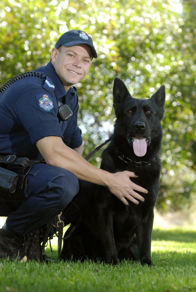Toowoomba Police Dog Squad Senior Constable Chad McLeod with police dog Xero.
