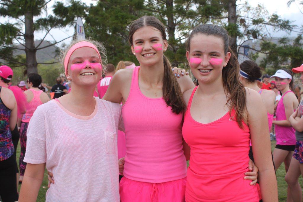 Abbie Jewell, Rebecca Chapman and Belinda Binnekamp from Rockhampton Grammar School attended the Pink Ribbon Run on Rockhampton. Photo Madeline McDonald / Morning Bulletin