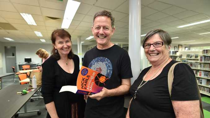 Author Nick Earls with (L) Julie Duke and Alison Taylor at a workshop at the Hervey Bay Library.