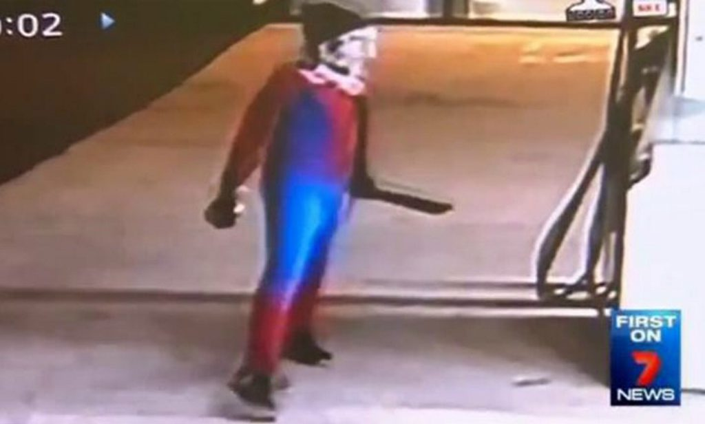 Spiderman, Spiderman, does whatever a spider can, but in this case he's accused of robbing a service station.