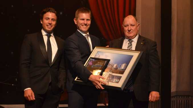 Julian Gerkhe from Gerkhe Grains and Transport (centre) was awarded the Mayors Award, pictured with MC James Tobin and LVRC Mayor Steve Jones. Photo Ali Kuchel / Gatton Star
