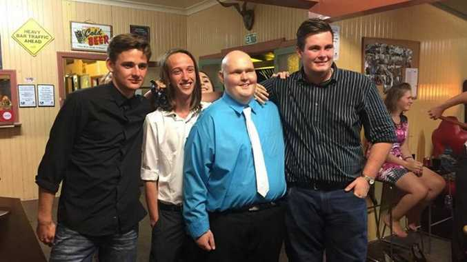Damian Warmington, Barry Candy, Joshua Ruane and Liam Philips attended the surprise Isis State School Prom for Joshua. Photo: contributed