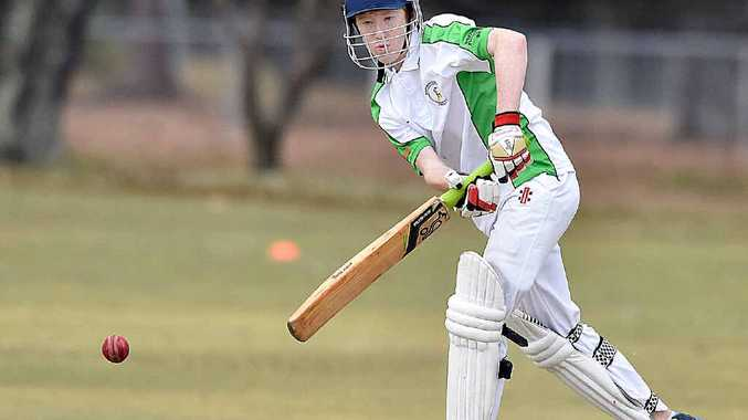 CRACKING SHOT: Tinana's Trent Goldenstein batting and (left) Past Grammars' Terry Tyack bowling during Saturday's match.