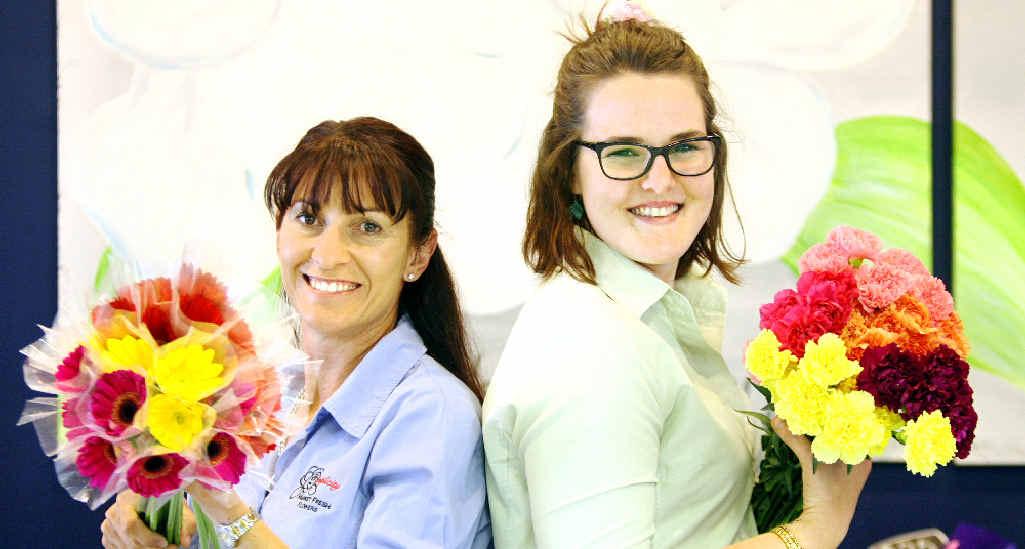 LIFTING SPIRITS: Simplicity Market Fresh Flowers' Michelle Hayward and Lauren Thompson.