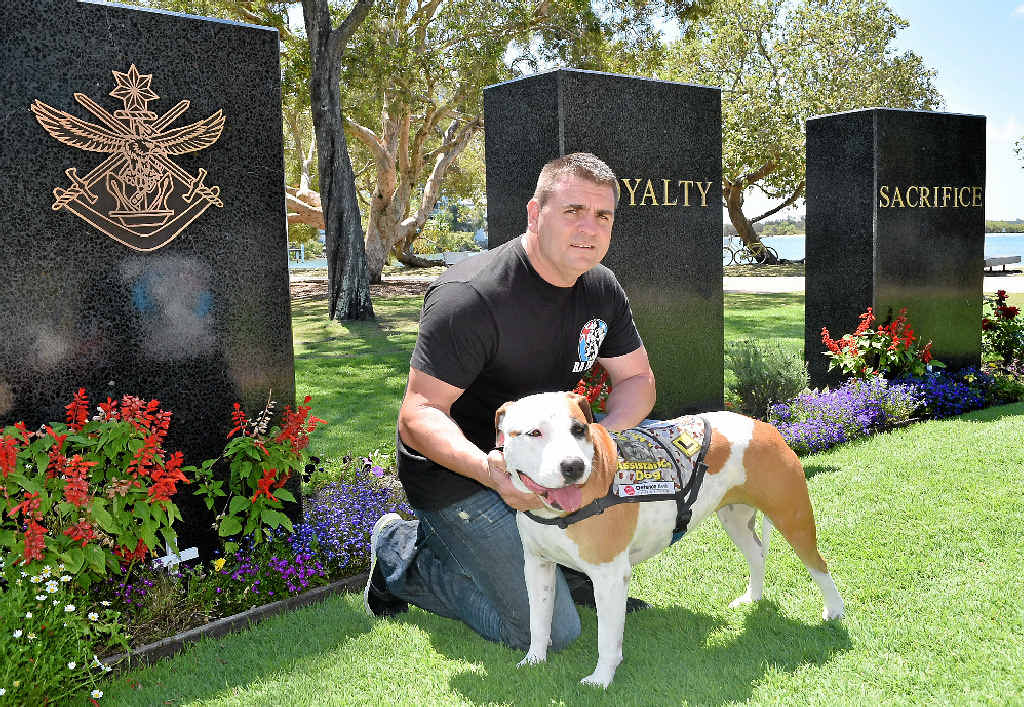 LIFESAVER: Leonard Bigler credits his staffy Jessie with helping him to deal with PTSD.