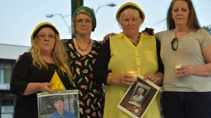 SOLEMN TRIBUTE: Jen Greene-Galloway, Sarah Moles, Marianne Irvine and Siobhan Elliott were among the locals who gathered to pay tribute to Chinchilla farmer George Bender in a candlelit vigil in Leslie Park.