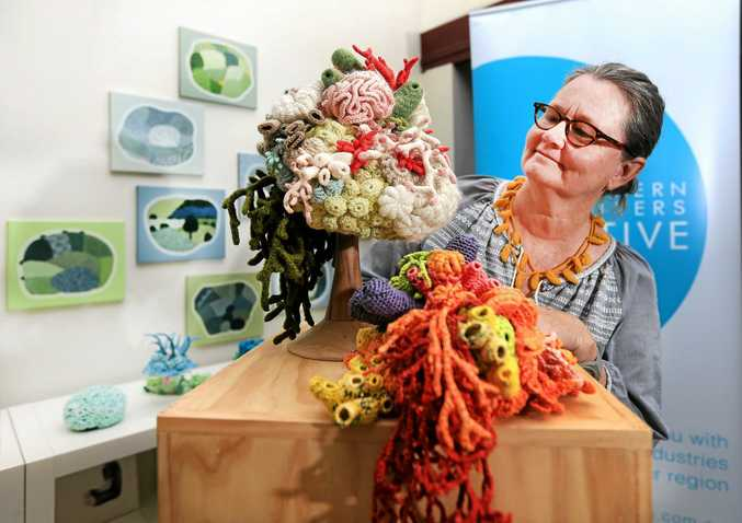 Artist and exhibitor Helle Jorgensen with some of her Sea Creature art made from crochet as she prepares for the Northern Rivers Creative Pop Up Exhibition at Murwillumbah this week end.Photo: Scott Powick Daily NewsTWE211015art