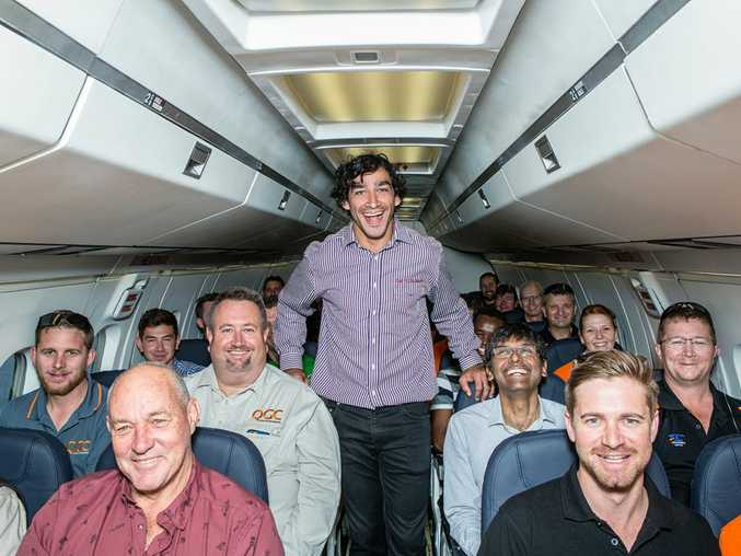 Johnathan Thurston on the first Skytrans flight from Brisbane to Chinchilla.