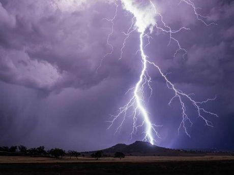 Lightning strikes near Gowrie Mountain.
